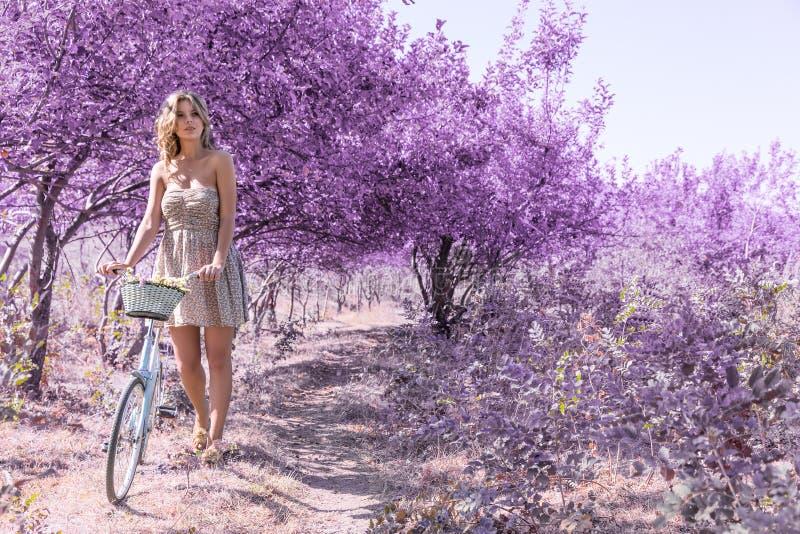 Jeune femme sur la bicyclette dans la forêt de rose d'imagination image libre de droits