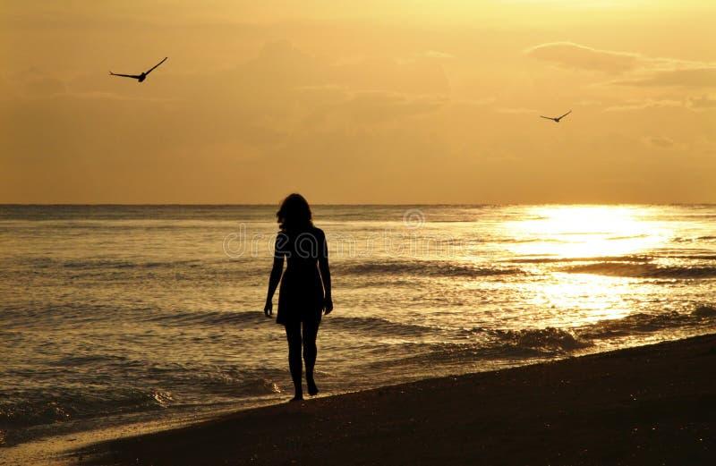 Jeune femme sur la promenade de coucher du soleil image stock