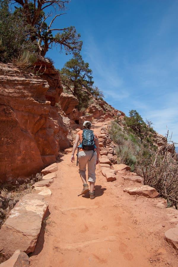 Jeune femme sur la traînée de South Kaibab dans Grand Canyon photo libre de droits