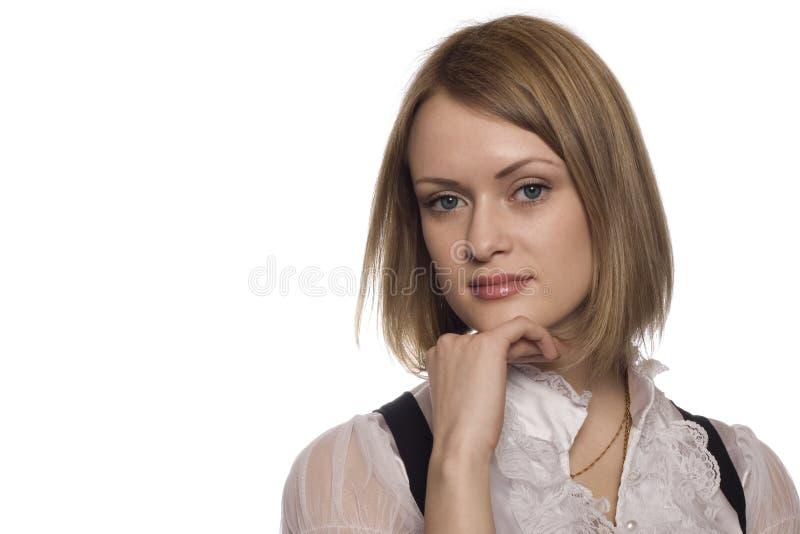 Jeune femme sur le fond blanc photos stock