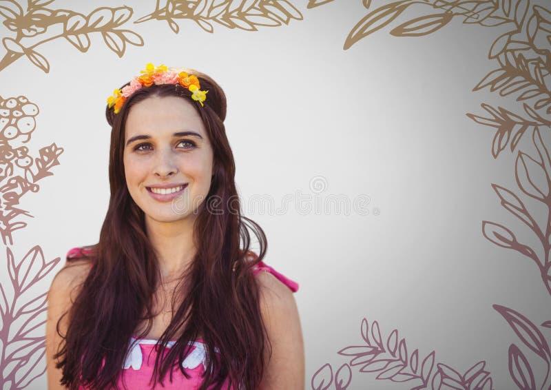 Jeune femme sur le fond gris avec des fleurs dans des dessins de cheveux et de nature illustration stock