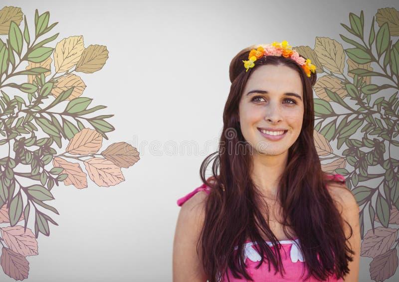 Jeune femme sur le fond gris avec des fleurs dans les cheveux et les jolies illustrations de fleur illustration de vecteur