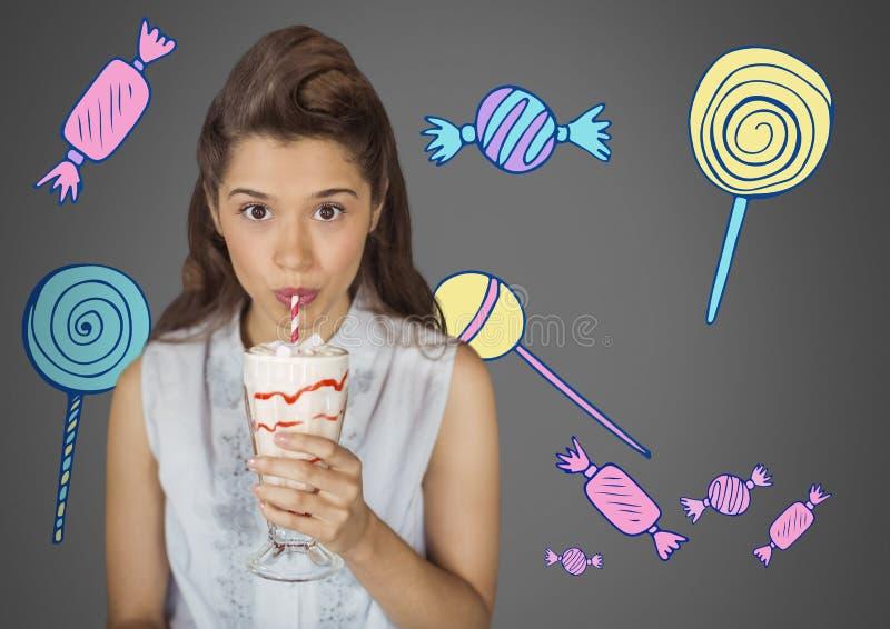 Jeune femme sur le fond gris avec la boisson et l'assortiment doux crémeux des illustrations de bonbons illustration de vecteur