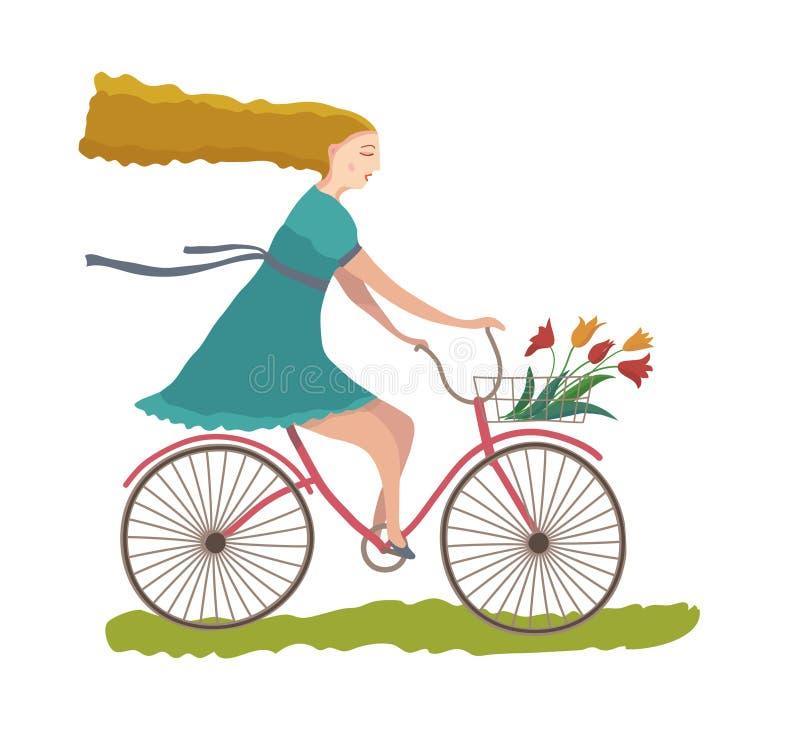 Jeune femme sur un vélo. illustration de vecteur