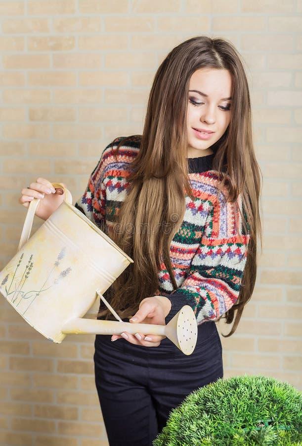 Jeune femme tenant la boîte d'arrosage photos stock
