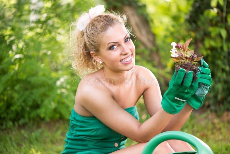 Jeune femme tenant le pot de fleur images libres de droits