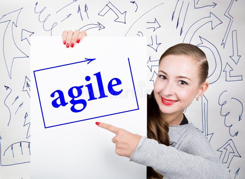 Jeune femme tenant le tableau blanc avec le mot d'écriture : agile Technologie, Internet, affaires et vente photographie stock libre de droits