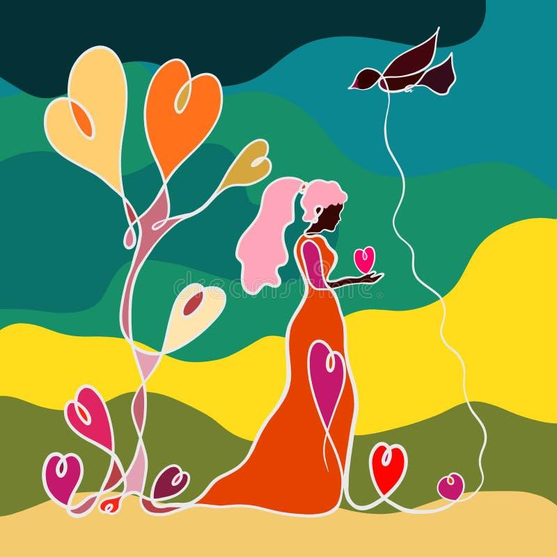Jeune femme tenant un coeur dans ses mains, un oiseau volant et un arbre des coeurs, modèle créatif dans une ligne illustration de vecteur