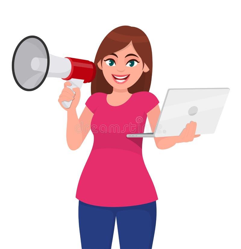Jeune femme tenant un mégaphone ou un haut-parleur à disposition Fille tenant l'ordinateur portable numérique Illustration de con illustration de vecteur