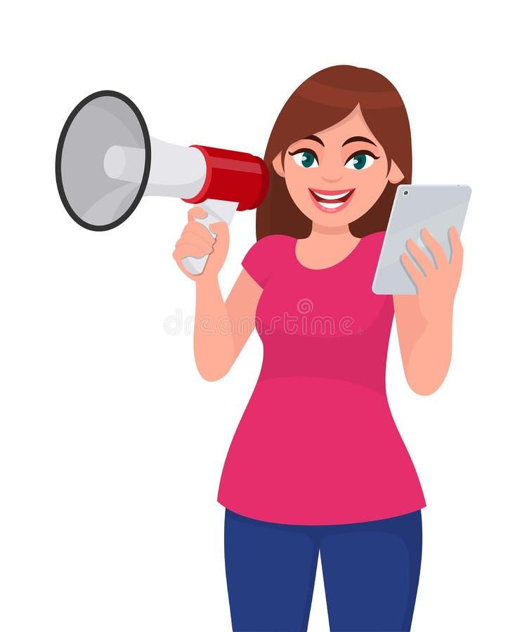 Jeune femme tenant un mégaphone ou un haut-parleur à disposition Fille tenant la tablette numérique Illustration de conception de illustration libre de droits