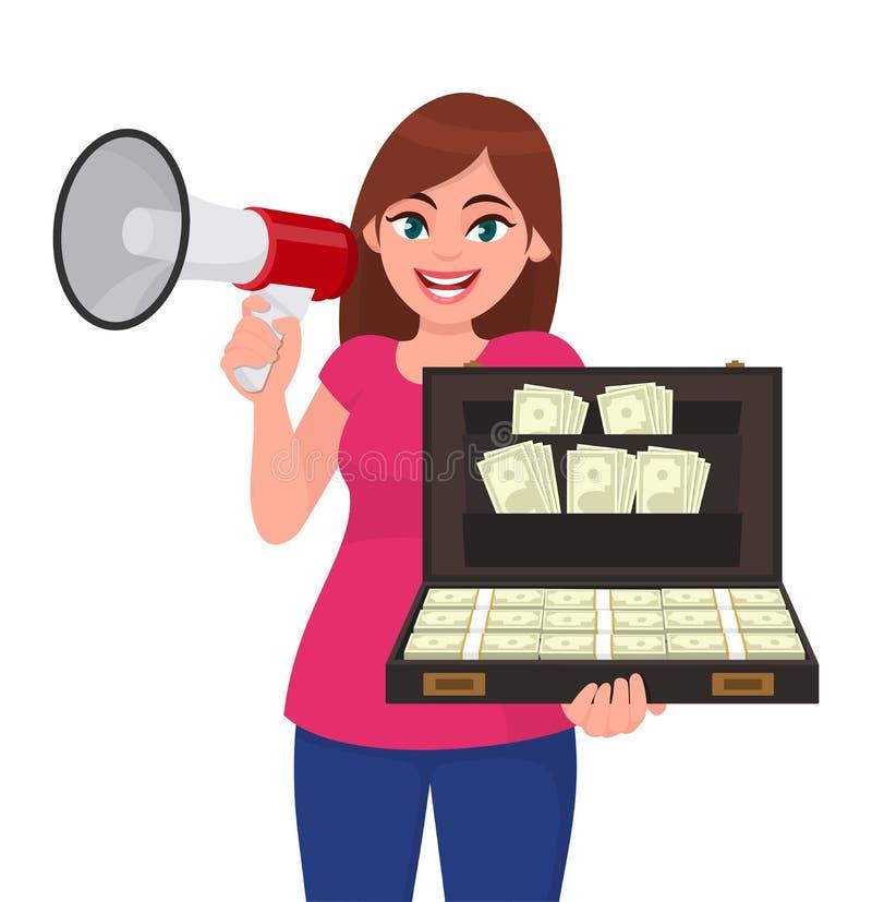 Jeune femme tenant un mégaphone ou un haut-parleur à disposition Fille montrant un groupe de serviette ou de valise d'argent liqu illustration de vecteur