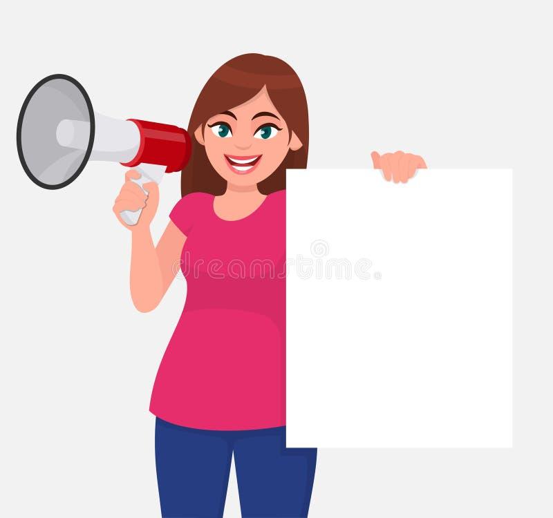 Jeune femme tenant un mégaphone ou un haut-parleur à disposition Fille montrant le livre blanc vide, l'affiche vide ou la bannièr illustration stock