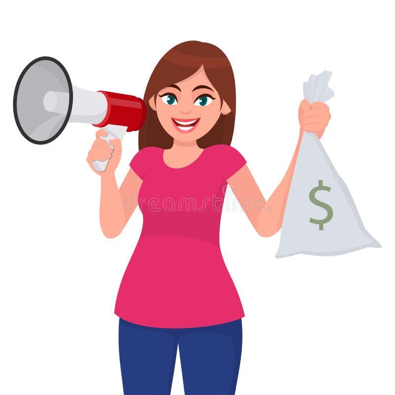 Jeune femme tenant un mégaphone ou un haut-parleur à disposition La fille montrant l'argent liquide, argent, devise note le sac a illustration stock