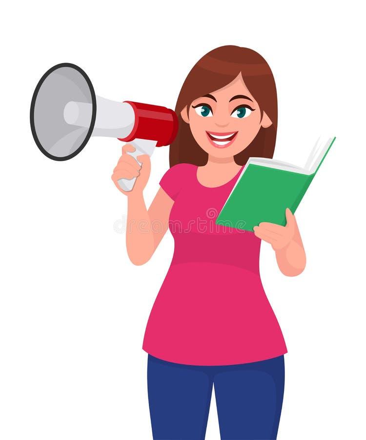 Jeune femme tenant un mégaphone ou un haut-parleur à disposition Lecture de fille ou tenir un livre Illustration de conception de illustration stock