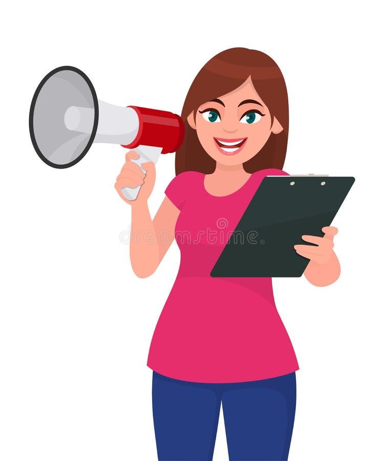 Jeune femme tenant un mégaphone ou un haut-parleur à disposition Presse-papiers, document, dossier ou rapport de participation de illustration libre de droits