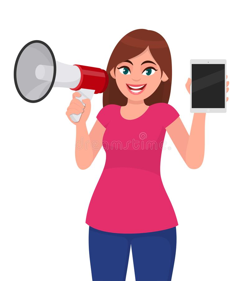 Jeune femme tenant un mégaphone ou un haut-parleur à disposition Tablette d'écran vide d'apparence de fille Conception de personn illustration stock
