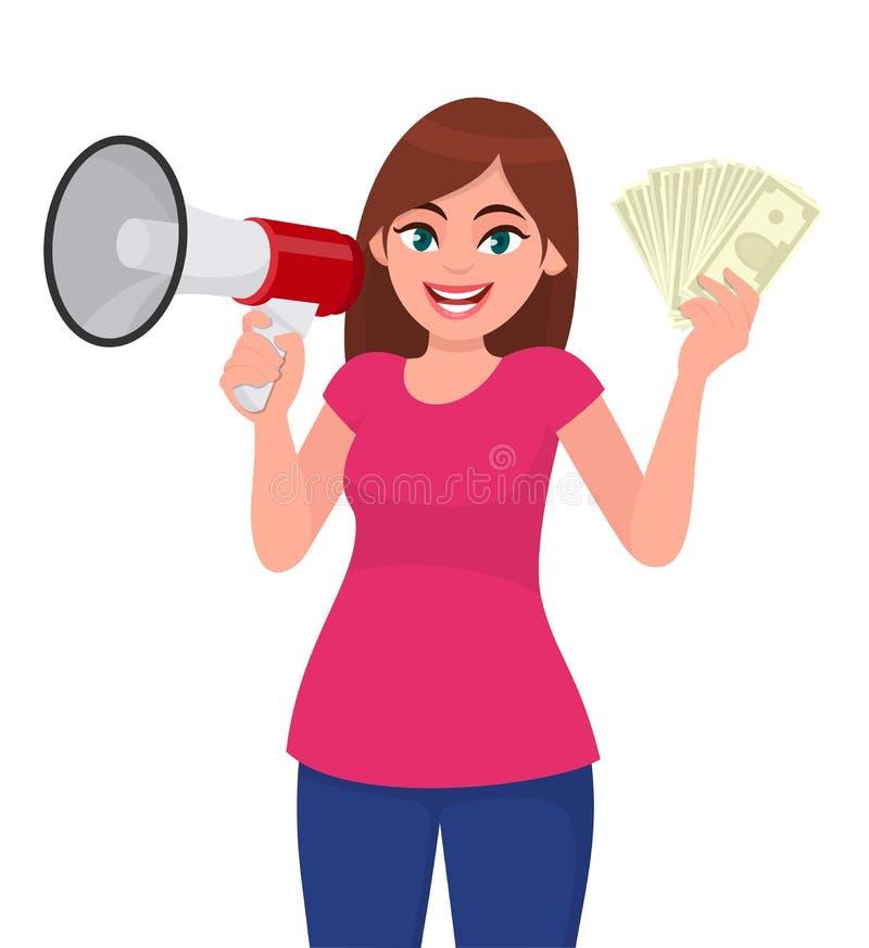Jeune femme tenant un mégaphone ou un haut-parleur Fille montrant l'argent liquide, argent, notes de devise à disposition Concept illustration libre de droits