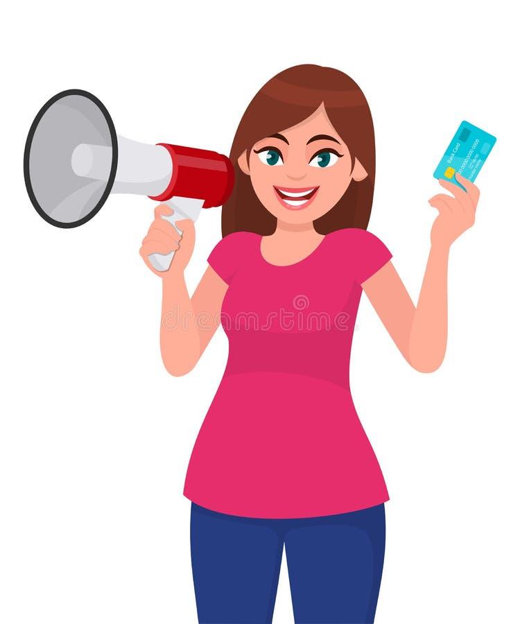 Jeune femme tenant un mégaphone ou un haut-parleur Fille montrant le crédit, débit, carte de distributeur bancaire à disposition  illustration de vecteur