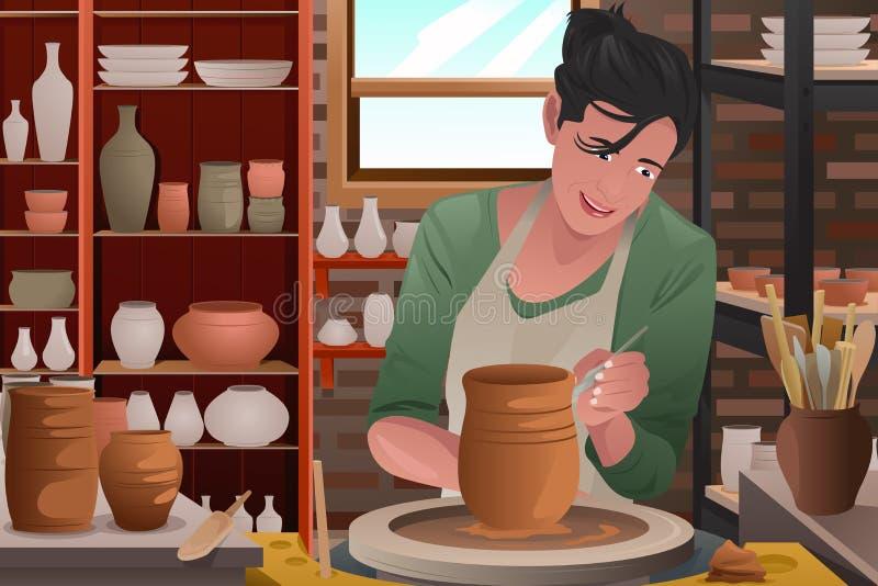 Jeune femme travaillant à une poterie illustration libre de droits