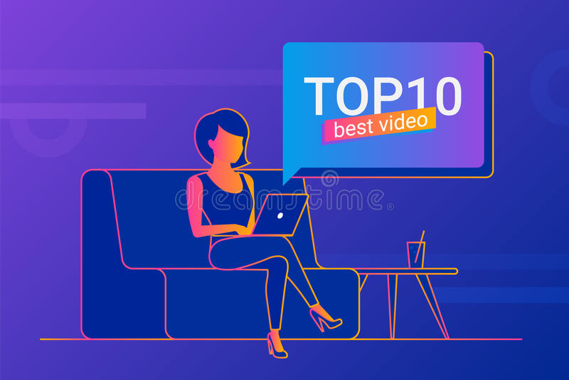 Jeune femme travaillant avec l'ordinateur portable à la maison illustration stock