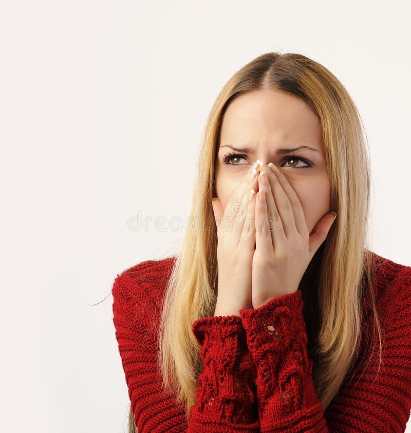Jeune femme triste et choqué photographie stock