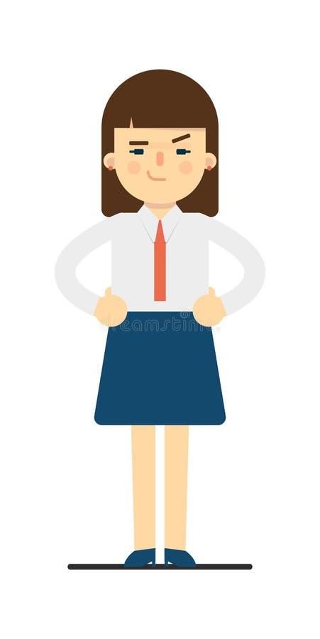 Jeune femme vilaine avec des mains sur le geste de taille illustration de vecteur