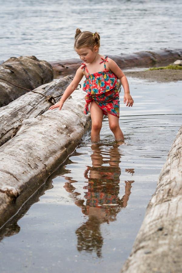 Jeune fille à la plage photos stock