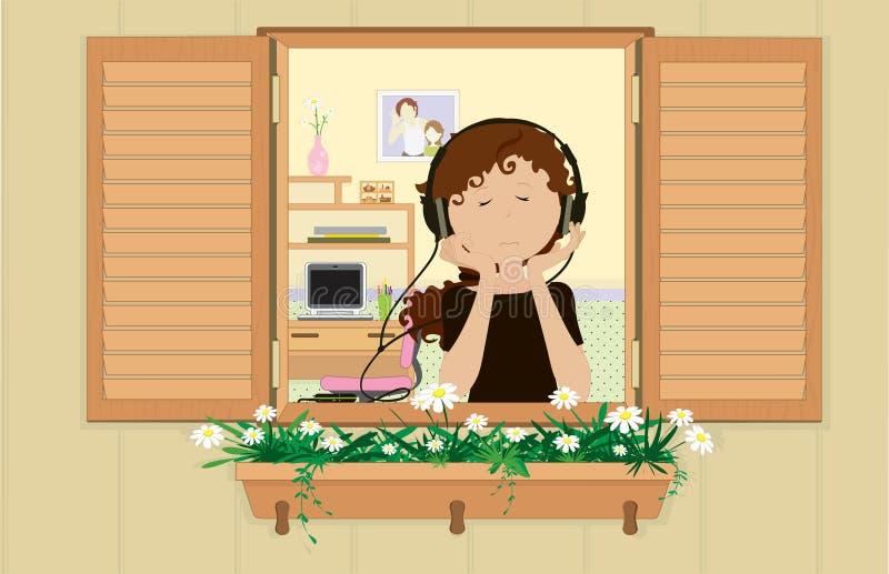 Jeune fille écoutant une musique. illustration de vecteur