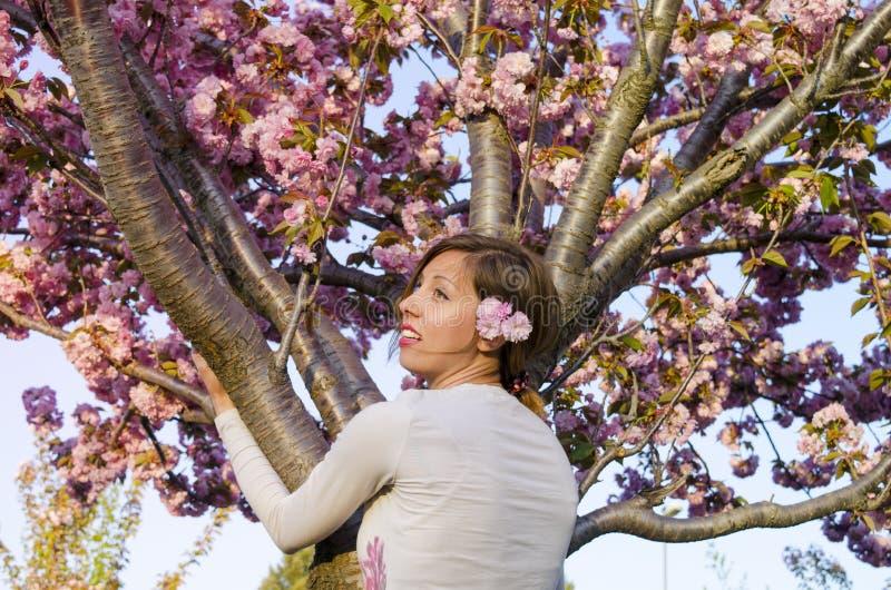 Jeune fille étreignant l'arbre dans la fleur photos stock