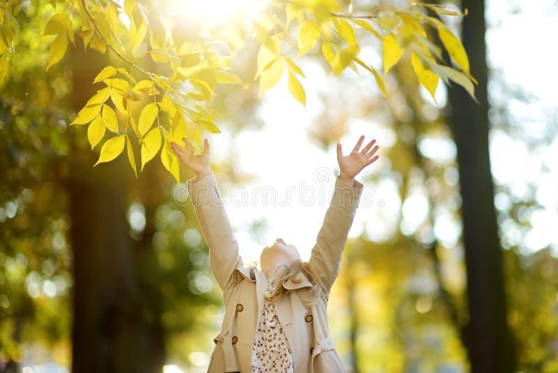 Jeune fille adorable ayant l'amusement le beau jour d'automne Enfant heureux jouant en parc d'automne Enfant recueillant le feuil image stock