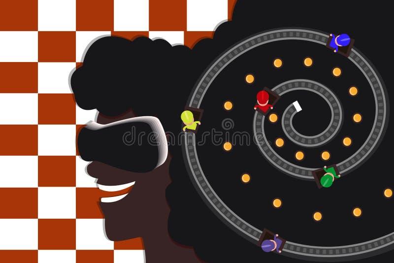 Jeune fille afro-américaine en verres de réalité virtuelle Emballage sur les voies Plat moderne Fond Checkered illustration stock