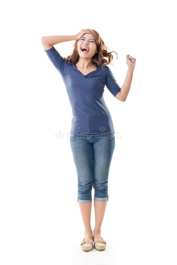 Jeune fille asiatique enthousiaste image stock