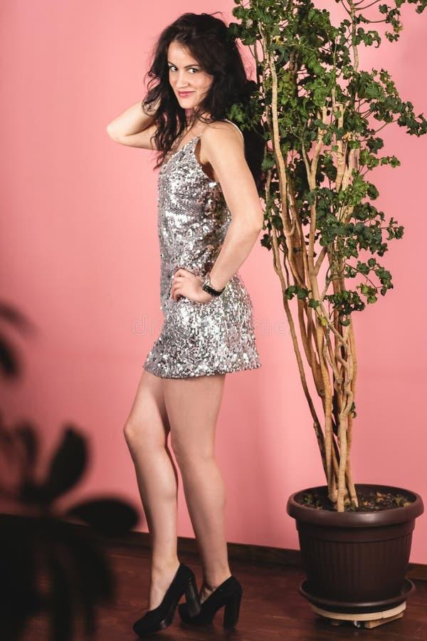 Jeune fille attirante de brune posant dans une robe argentée brillante dans un studio de photo sur un fond rose photos libres de droits