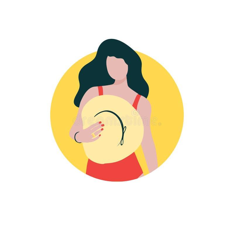 Jeune fille aux cheveux longs avec le chapeau dans le maillot de bain rouge illustration libre de droits