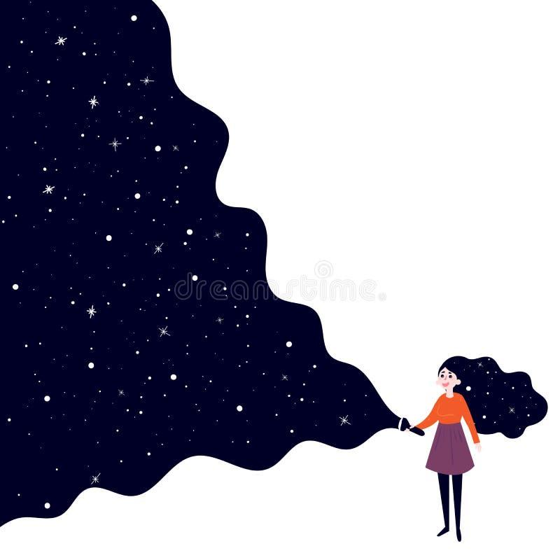 Jeune fille avec la lampe-torche à l'espace lointain illustration stock