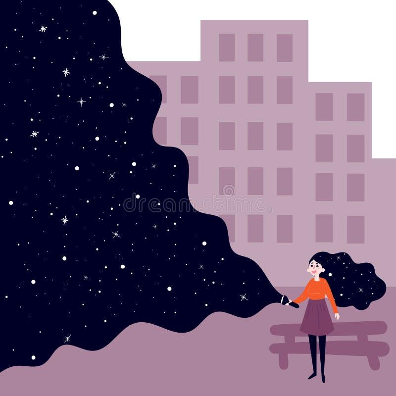 Jeune fille avec la lampe-torche à l'espace lointain illustration de vecteur