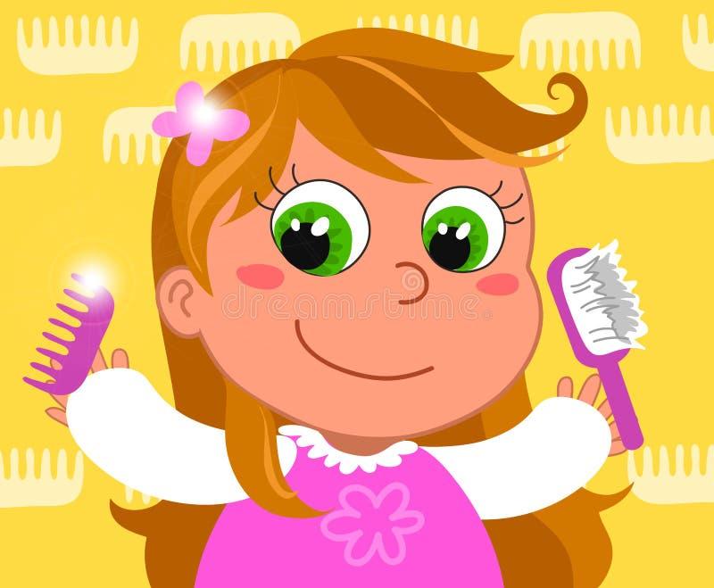 Jeune fille avec le balai illustration stock