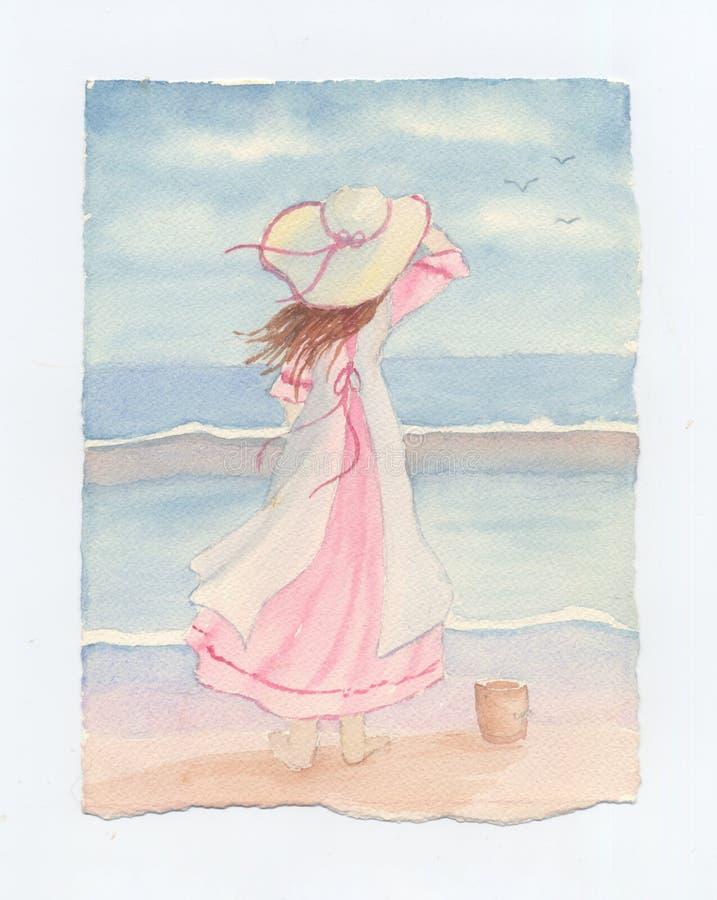 Jeune fille avec le chapeau de soleil regardant la mer - aquarelle originale illustration stock