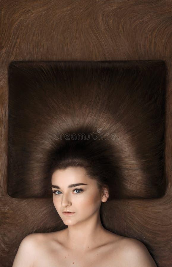 Jeune fille avec le long cheveu brun photos stock