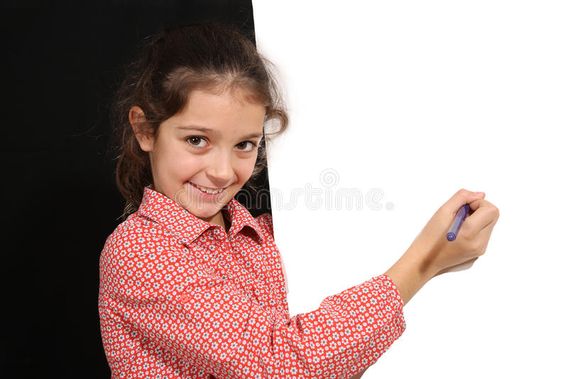 Jeune fille avec le tableau blanc images stock