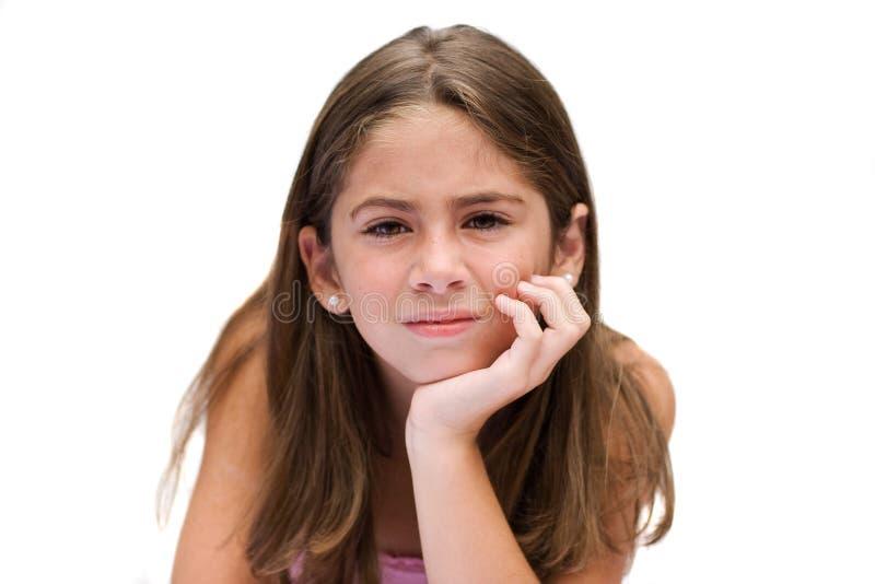 Jeune fille avec un regard pensif images libres de droits