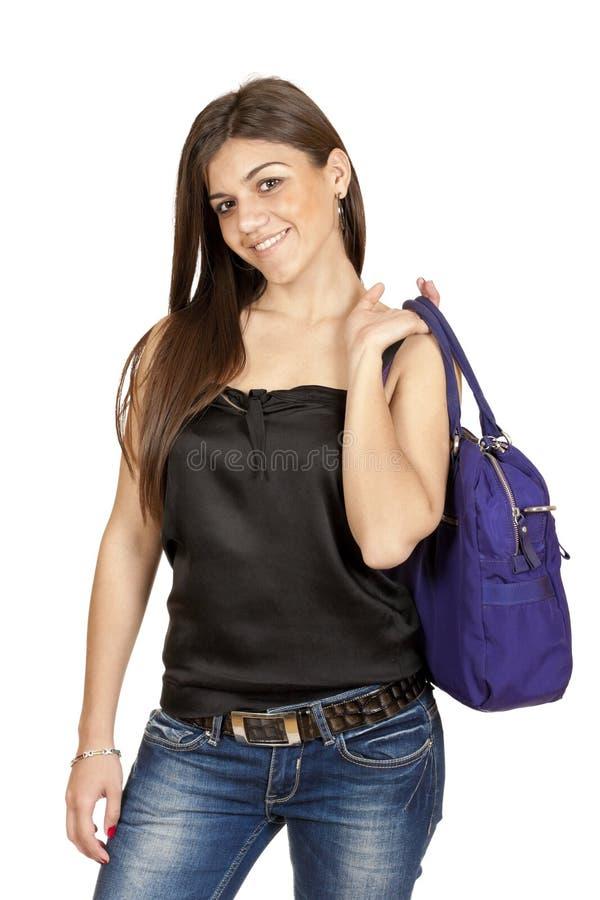 Jeune fille avec un sac photo libre de droits