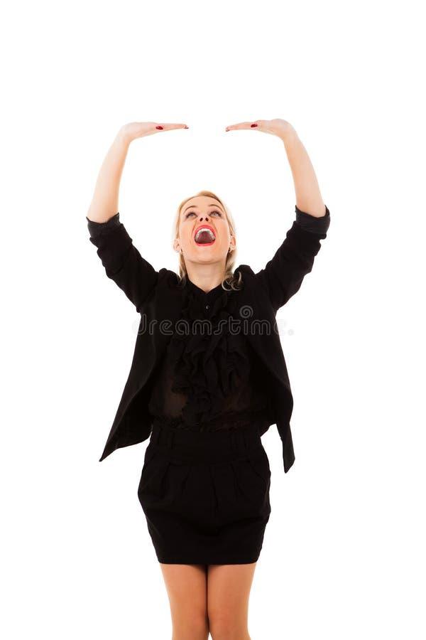 Jeune fille blonde retenant des mains photos stock