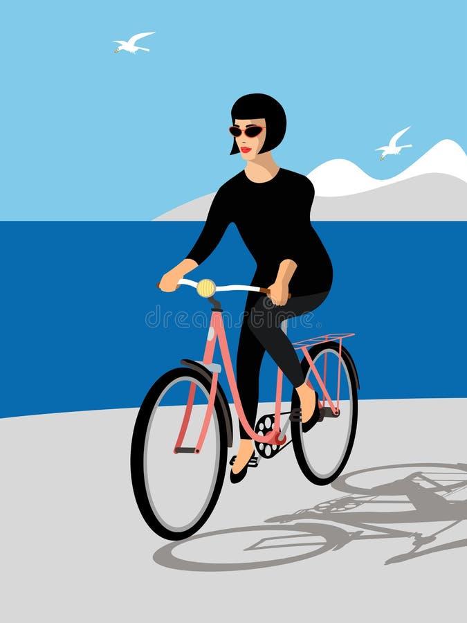 Jeune fille conduisant un vélo Illustration illustration stock