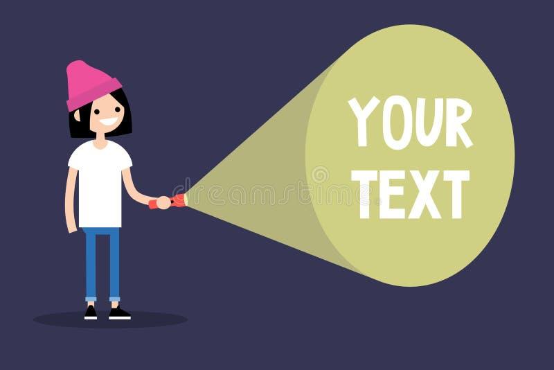 Jeune fille curieuse de brune tenant une lampe-torche Votre texte ici illustration de vecteur