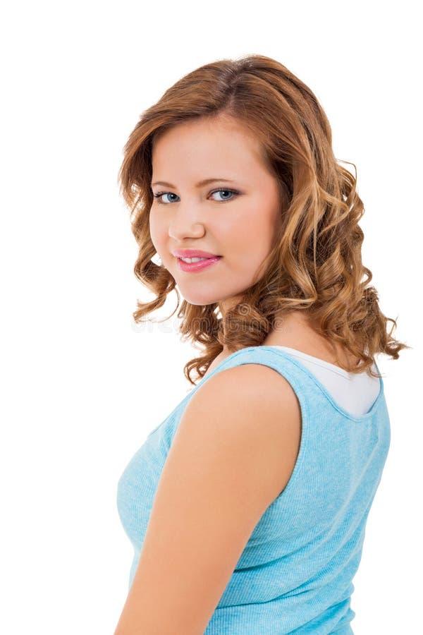 Jeune fille d'adolescent souriant ayant le portrait d'amusement photos stock
