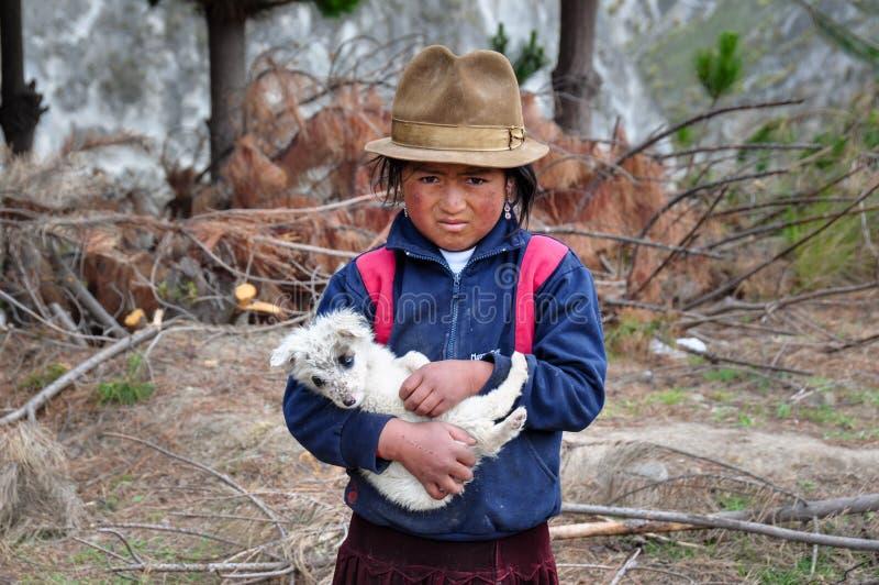 Jeune fille d'ecuadorian avec le chien près de Quilotoa, Equateur images libres de droits