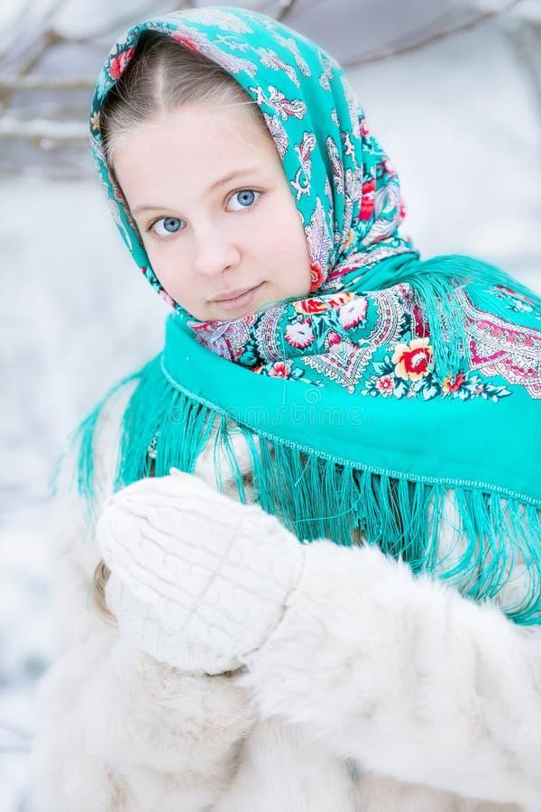 Jeune fille dans l'écharpe russe dans le paysage d'hiver images libres de droits