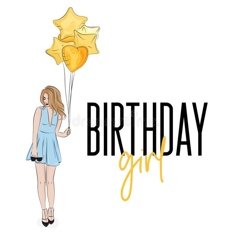 Jeune fille dans la belle robe bleue avec l'illustration d'or d'anniversaire de baloons Balons de femme et d'air d'impression de  illustration libre de droits