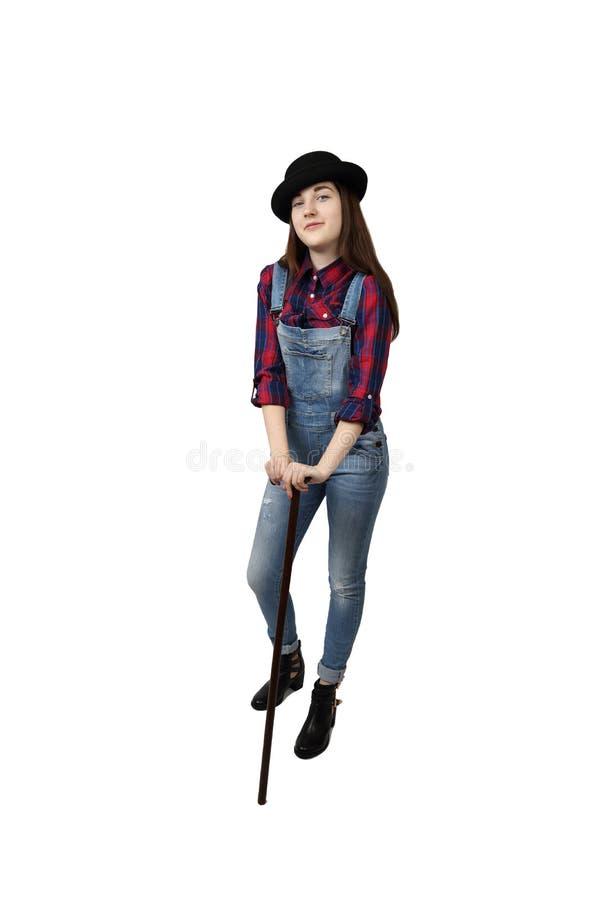 Jeune fille dans la pose de chapeau noir photo libre de droits